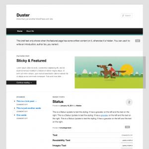 צילום מסך של Duster התבנית עליה תתבסס TwentyEleven