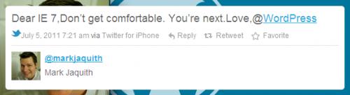 ציוץ בטוויטר על הפסקת התמיכה באקספלורר 7