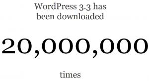 מונה ההורדות של וורדפרס 3.3 חוצה 20 מיליון הורדות