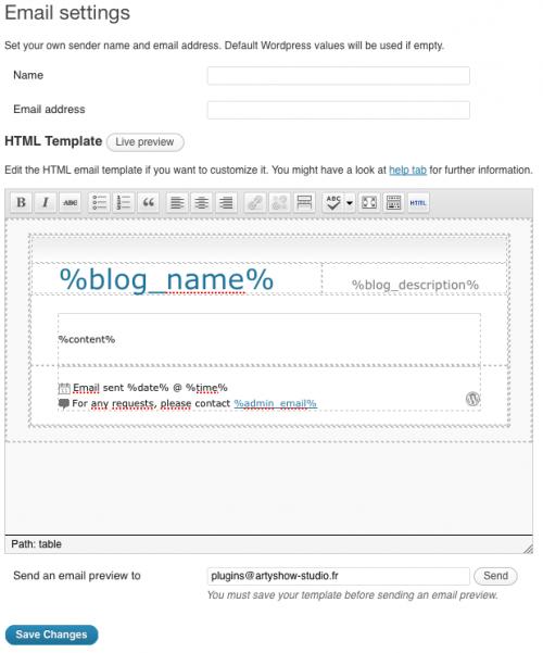 עורך ויזואלי לעיצוב מראה המייל