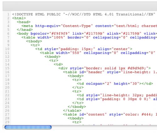עורך קוד לעיצוב מראה המייל