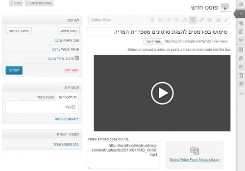 פורמט מסוג וידאו להצגת סרטונים מספריית המדיה של האתר