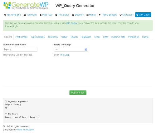 WP_Query Generator