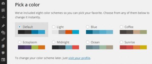 ערכות צבעים ללוח הבקרה של וורדפרס 3.8